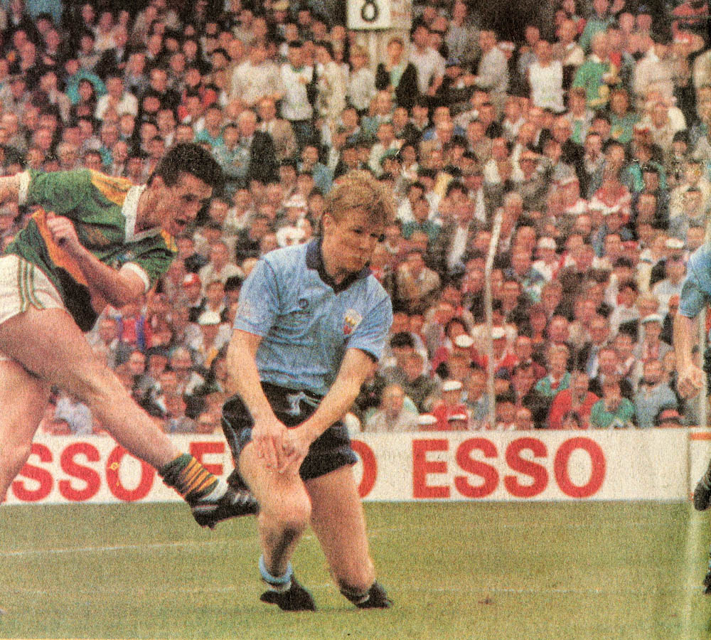 Billy O Sullivan blasts the ball to the net for Kerry's second goal in the All-Ireland Minor Football Final 1988.